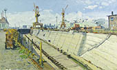 H.D. Tylle - Dry Dock, on-site painting, Bremerhaven, Germany, 08/29/2002, 12 x 20 inch, oil on cardboard