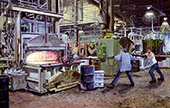 H.D. Tylle - Cleaning the furnace, ACE/CO, Aceco, Milwaukee USA, 2003, 35 x 55 inch, oil/canvas