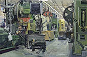 H.D. Tylle - Hot Forge Cell, Mechanical Industries, Milwaukee USA, 03/14/2003, 16 x 24 inch, oil on cardboard