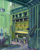 H.D. Tylle - Working on the Press, VW, Kassel, 01/23/1980, 20 x 16 inch, oil on cardboard