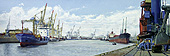 H.D. Tylle - Harbour of Hamburg, Hamburg, Germany, 2004, 24 x 63 inch, oil/canvas