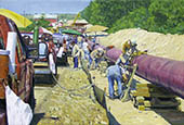 H.D. Tylle - Welding the Pipeline, Michels Corp., Michels, Brownsville USA, 2006, 30 x 43 inch, oil/canvas