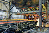 H.D. Tylle - Cutting the Billets, Charter Steel, Charter Steel, Cleveland, OHIO, USA, 2007, 31 x 47 inch, oil/canvas