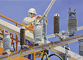H.D. Tylle - Substation alignment, Michels Corp., Michels, Brownsville, Wi USA, 2008, 28 x 37 inch, oil/canvas