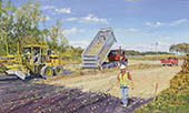 H.D. Tylle - Grading and Gravel, Michels Corp., Michels, Brownsville, WI USA, 2008, 35 x 59 inch, oil/canvas