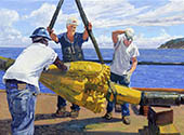 H.D. Tylle - Gordy drilling the Caribbean, Michels Corp., Michels, Brownsville, WI USA, 2008, 28 x 37 inch, oil/canvas