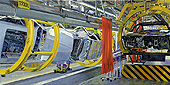 H.D. Tylle - BMW 3-series Production Assembly Line at the Munich Plant, Germany, 2009, 43 x 87 inch, oil/canvas<br><a  style=&#34;color:#969&#34;  href=&#34;mailto:info@tylle.de?subject=price inquiry: 1178  BMW 3-series Production Assembly Line at the Munich Plant&#34;>price inquiry</a>