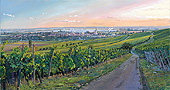 H.D. Tylle - Vineyards with a View of Iphofen and Knauf, Germany, 2009, 30 x 55 inch, oil/canvas<br><a  style=&#34;color:#969&#34;  href=&#34;mailto:info@tylle.de?subject=price inquiry: 1183  Vineyards with a View of Iphofen and Knauf&#34;>price inquiry</a>