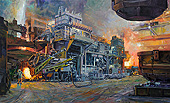 H.D. Tylle - Electric Arc Furnace after Charging, Badische Stahlwerke Kehl, Germany, 2009, 43 x 71 inch, oil/canvas