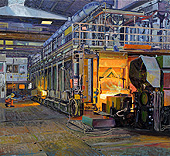 H.D. Tylle - Pusher Furnace Wire Rod Rolling Mill, Badische Stahlwerke Kehl, Germany, 2010, 43 x 47 inch, oil/canvas