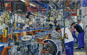 H.D. Tylle - Shop Floor 9, Assembly Line 2 for Ecosplit Gearboxes, ZF, Friedrichshafen, 2010, 37 x 59 inch, oil/canvas