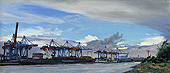 "H.D. Tylle - Container Terminal Altenwerder, Hamburg, 2012, 18 x 39 inch, oil/canvas<br><a  style=""color:#969""  href=""mailto:info@tylle.de?subject=price inquiry: 1253  Container Terminal Altenwerder"">price inquiry</a>"
