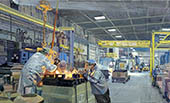 H.D. Tylle - Filling the molds, Northern Stainless, Pewaukee, WI USA, 2013, 33 x 55 inch, oil/canvas