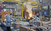 H.D. Tylle - Core Making, Northern Stainless, Pewaukee, WI USA, 2013, 33 x 55 inch, oil/canvas