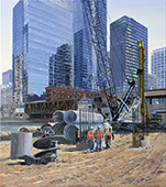 H.D. Tylle - Chicago with reflective buildings, Michels, Brownsville, WI USA, 2014, 45 x 39 inch, oil/canvas