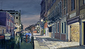 "H.D. Tylle - Calle due Corti, Venice, 2015, 28 x 47 inch, oil/canvas<br><span style=""visibility:hidden"">H.D. Tylle, landscape painting</span>"