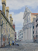 H.D. Tylle - Roadworkers near Chieasa dei Gesuiti, Venice, 2015, 37 x 28 inch, oil/canvas