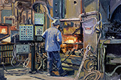 H.D. Tylle - Study #3, Walker Forge, Clintonville, WI, USA, 02/16/2015, 16 x 24 inch, oil on cardboard