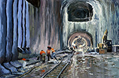 H.D. Tylle - The East Side Access project #1, New York, NY, USA, 02/17/2015, 16 x 24 inch, oil on cardboard<br><a  style=&#34;color:#969&#34;  href=&#34;mailto:info@tylle.de?subject=price inquiry: 1327  The East Side Access project #1&#34;>price inquiry</a>