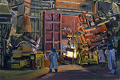 H.D. Tylle - Tapping the Arc, MetalTek, Waukesha, WI USA, 04/11/2015, 16 x 24 inch, oil on cardboard<br><a  style=&#34;color:#969&#34;  href=&#34;mailto:info@tylle.de?subject=price inquiry: 1337  Tapping the Arc&#34;>price inquiry</a>