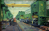 H.D. Tylle - Press Plant, Study, VW, Kassel, 01/23/1980, 12 x 20 inch, oil on cardboard