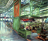 H.D. Tylle - Golf 1 - Assembling Line, VW Wolfsburg, 06/09/1980, 16 x 24 inch, oil on cardboard