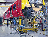 H.D. Tylle - Final Assembly South West Trains, Siemens AG Krefeld, Germany, 2016, 35 x 45 inch, oil/canvas<br><a  style=&#34;color:#969&#34;  href=&#34;mailto:info@tylle.de?subject=price inquiry: 1352  Final Maintenance South West Trains&#34;>price inquiry</a>