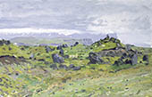 H.D. Tylle - Sheeps in the rain, Iceland, 08/27/1990, 10 x 16 inch, oil on cardboard<br><a  style=&#34;color:#969&#34;  href=&#34;mailto:info@tylle.de?subject=price inquiry: 16  Sheeps in the rain&#34;>price inquiry</a>