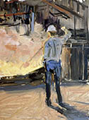 H.D. Tylle - Back Light Study, on-site painting, Mansfeld, former GDR, 06/17/1987, 16 x 12 inch, oil on cardboard