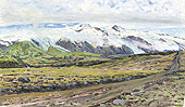 H.D. Tylle - Eyjafjallaj&ouml;kull, Iceland, 08/07/1991, 12 x 20 inch, oil on cardboard<br><a  style=&#34;color:#969&#34;  href=&#34;mailto:info@tylle.de?subject=price inquiry: 224  Eyjafjallaj&ouml;kull&#34;>price inquiry</a>