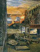 H.D. Tylle - Steel Mill, Salzgitter AG, Germany, 1989, 71 x 55 inch, oil/canvas