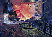 H.D. Tylle - Blast Furnace, Salzgitter AG, Germany, 1989, 51 x 71 inch, oil/canvas