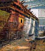 H.D. Tylle - Meyer-Werft, 05/26/1988, 20 x 16 inch, oil on cardboard