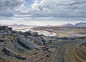 H.D. Tylle - On the way to Herdubreid, Iceland, 1991, 51 x 71 inch, oil/canvas