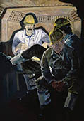 H.D. Tylle - Three Miners in the Train, RAG, Germany, 1984, 55 x 39 inch, oil/canvas