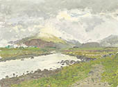 H.D. Tylle - Morning near H&ouml;fn, Iceland, 08/04/1991, 12 x 16 inch, oil on cardboard<br><a  style=&#34;color:#969&#34;  href=&#34;mailto:info@tylle.de?subject=price inquiry: 35  Morning near H&ouml;fn&#34;>price inquiry</a>