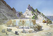 H.D. Tylle - Marble Exploitation in Carrara, Omya, Italy, 1992, 51 x 75 inch, oil/canvas