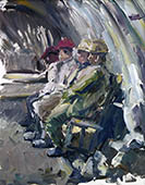 H.D. Tylle - Miners Waiting, RAG, Germany, 02/23/1985, 16 x 12 inch, oil on cardboard