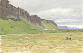 H.D. Tylle - Arunarhaun, Iceland, 08/26/1990, 10 x 16 inch, oil on cardboard<br><a  style=&#34;color:#969&#34;  href=&#34;mailto:info@tylle.de?subject=price inquiry: 59  &#34;>price inquiry</a>