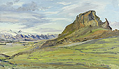H.D. Tylle - Tindafj&ouml;ll, Iceland, 07/29/1993, 12 x 20 inch, oil on cardboard<br><a  style=&#34;color:#969&#34;  href=&#34;mailto:info@tylle.de?subject=price inquiry: 634  Tindafj&ouml;ll&#34;>price inquiry</a>