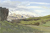 H.D. Tylle - Eyjafjallaj&ouml;kull, Iceland, 07/29/1993, 8 x 12 inch, oil on cardboard<br><a  style=&#34;color:#969&#34;  href=&#34;mailto:info@tylle.de?subject=price inquiry: 635  Eyjafjallaj&ouml;kull&#34;>price inquiry</a>