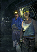 H.D. Tylle - Two Miners, Walsum, Germany, 1993, 55 x 39 inch, oil/canvas<br><a  style=&#34;color:#969&#34;  href=&#34;mailto:info@tylle.de?subject=price inquiry: 649  Two Miners&#34;>price inquiry</a>