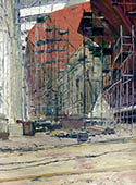 H.D. Tylle - On site study, Harmstorf-Shipyard, Flensburg, 01/01/1986, 16 x 12 inch, oil on cardboard