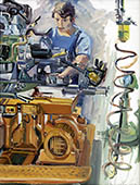 H.D. Tylle - VW-Worker, VW-Wolfsburg, 09/06/1980, 31 x 24 inch, oil on cardboard<br><a  style=&#34;color:#969&#34;  href=&#34;mailto:info@tylle.de?subject=price inquiry: 702  VW-Worker&#34;>price inquiry</a>