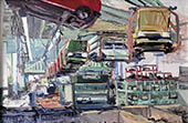 H.D. Tylle - Golf 1 - Assembling, VW-Wolfsburg, 07/07/1980, 16 x 24 inch, oil on cardboard<br><a  style=&#34;color:#969&#34;  href=&#34;mailto:info@tylle.de?subject=price inquiry: 703  Golf 1 - Assembling&#34;>price inquiry</a>