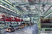 H.D. Tylle - Golf 1 - Assembling Line, VW Wolfsburg, 07/10/1980, 16 x 24 inch, oil on cardboard<br><a  style=&#34;color:#969&#34;  href=&#34;mailto:info@tylle.de?subject=price inquiry: 704  Golf 1 - Assembling Line&#34;>price inquiry</a>