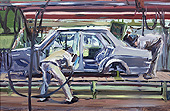 H.D. Tylle - Welding the Auto Body, on-site painting, VW, Wolfsburg, 09/05/1980, 16 x 24 inch, oil on cardboard
