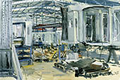 H.D. Tylle - Assembly for Boarding Bridge, Thyssen, Kassel, 04/02/1997, 16 x 24 inch, oil on cardboard