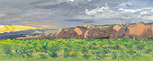 "H.D. Tylle - Gallup, Sunset, New Mexico, USA, 08/13/1998, 8 x 20 inch, oil on cardboard<br><a  style=""color:#969""  href=""mailto:info@tylle.de?subject=price inquiry: 849  Gallup, Sunset"">price inquiry</a>"