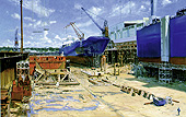 H.D. Tylle - HDW Dock 8a, Container Frigate, 1998, 51 x 79 inch, oil/canvas